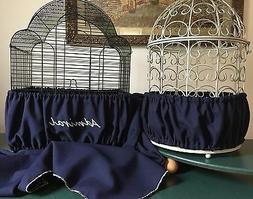Handcrafted Navy Blue Fabric Bird Cage Seed Catcher Skirt Gu