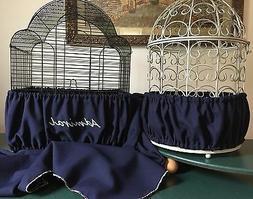 Handcrafted Navy Blue Fabric Bird Cage Seed Catcher Skirt Gu