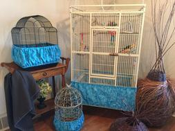 Handcrafted Turquoise Blue Fabric Bird Cage Seed Catcher Ski