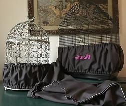 Handmade Charcoal Gray Fabric Bird Cage Seed Catcher Skirt G
