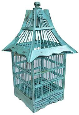 Handmade Decorative Wood Rustic Bird Cage Home Decor