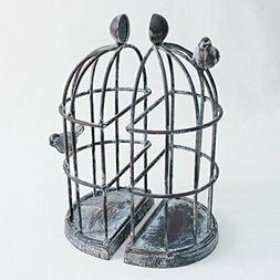 Time Concept Handmade Iron Bookend Pair - Birdcage - Decorat