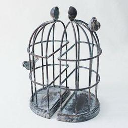 Time Concept Handmade Iron Decorative Bookends - Birdcage