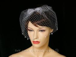"Handmade Ivory 9"" Bridal Pearls Edge Wedding Birdcage Blushe"