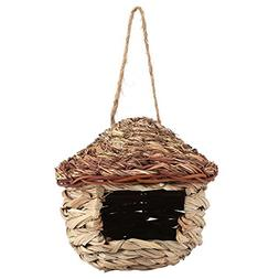 Fdit Handwoven Straw Bird Nest Cage House Hatching Breeding