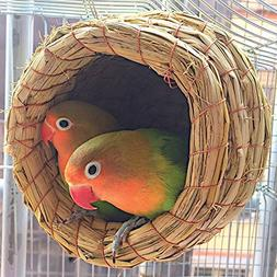 RunHigh Handwoven Straw Bird Nest Cage, House Hatching Breed