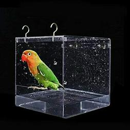 Suremita Hanging Bird Bath Cube Bathtub Shower Box Bowl Cage