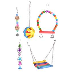 Hanging Bird Cage Hammock Swing Wood Beads Bell Toy for Parr