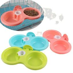 Hanging Food Water Dual Bowl For Crate Cages Coop Dog Parrot