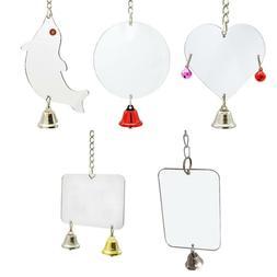Hanging Parrot Chew Bell Mirror Play Toys Swing Parakeet Bir