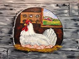 Hen on nest painting art print barn wood