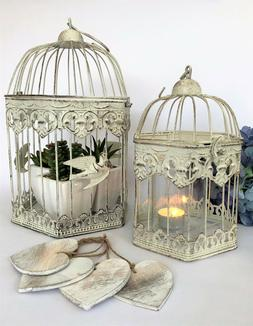 Hexagonal White Metal Bird Cage Vintage Shabby Heart Wedding