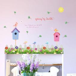 Home Decor Colorful Flowers Green Grass <font><b>Birds</b></