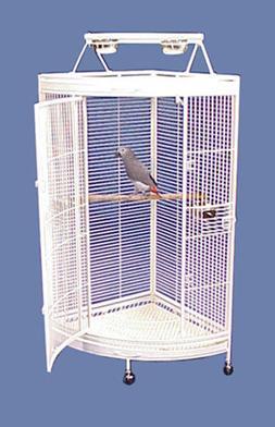 "Honolulu Hideaway Corner Bird Cage with Playtop - 36""W x 25"""