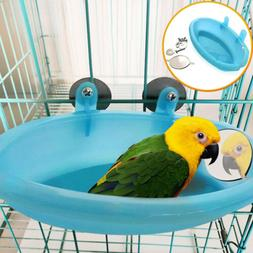 Hot Plastic Bird Cage Bath Basin With Mirror Pet Parrot Bath