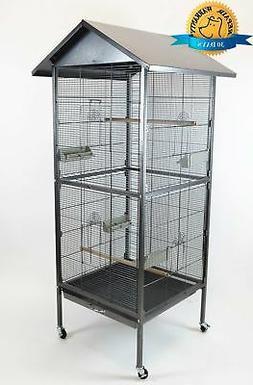 Homey Pet House Shape Bird Cockatoo Macaw Cage Roof Feed Doo