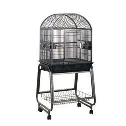 HQ's Opening Dome Parrot Cage with Cart Stand, Small, Platin
