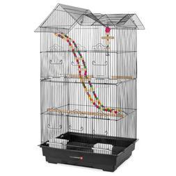 Indoor Outdoor Iron Birdcage w/ Removable Tray, 4 Feeders, 2