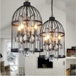 Industrial Wrought Iron Crystal Bird Cage Chandeliers Retro