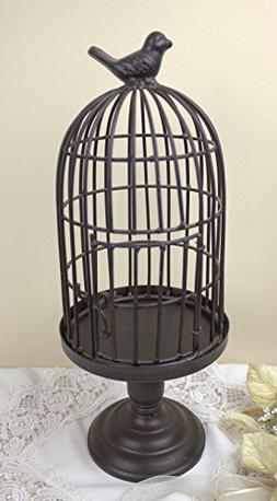 """14"""" Iron Standing Bird Cage Decor ~ Plant Candle Holder W/do"""