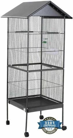 Iron Steel Bird Cage Rolling Stand Metal Cockatiel Parakeet