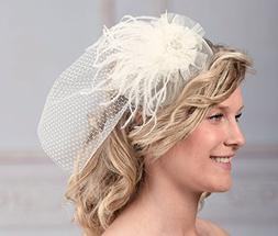 Lillian Rose JL246 I Vintage Wedding Feather Birdcage Veil,