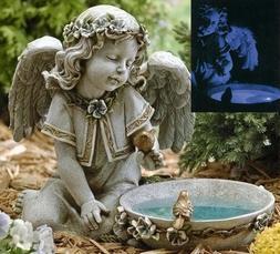 "14"" Joseph's Studio Solar Powered Bird Bath Angel Outdoor Ga"