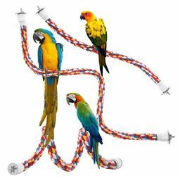 Jusney Bird Rope Perches, Comfy Perch Parrot Toys Rope Bunge