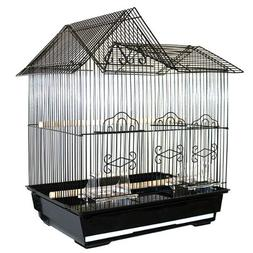 "Kama Krib Housetop Bird Cage - 17""W x 12""D x 20""H - White"