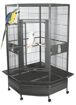 """Kapoho Kave Large Corner Bird Cage - 69"""" X 40"""" X 72"""" - Black"""