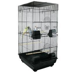 "Kiko Kondo Double Bird Cage - 16""W x 14""D x 30""H - Black"