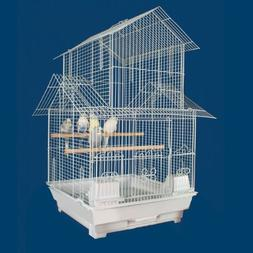 "Kiko Kondo Housetop Bird Cage - 16""W x 16""D x 27""H - White"