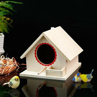 1 Pc Bird Cage Decorative Durable Natural Solid Wood House D