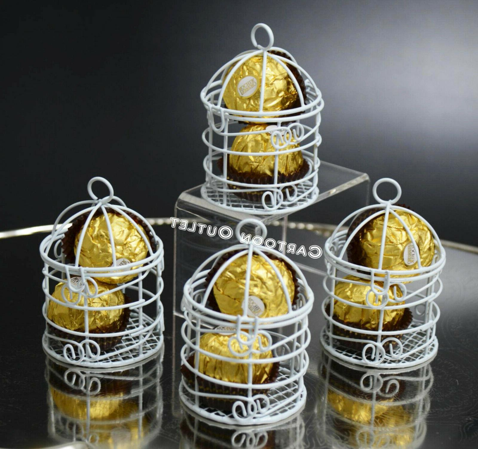 12 WEDDING QUINCEANERA FAVORS SMALL WHITE METAL BIRD CAGES P