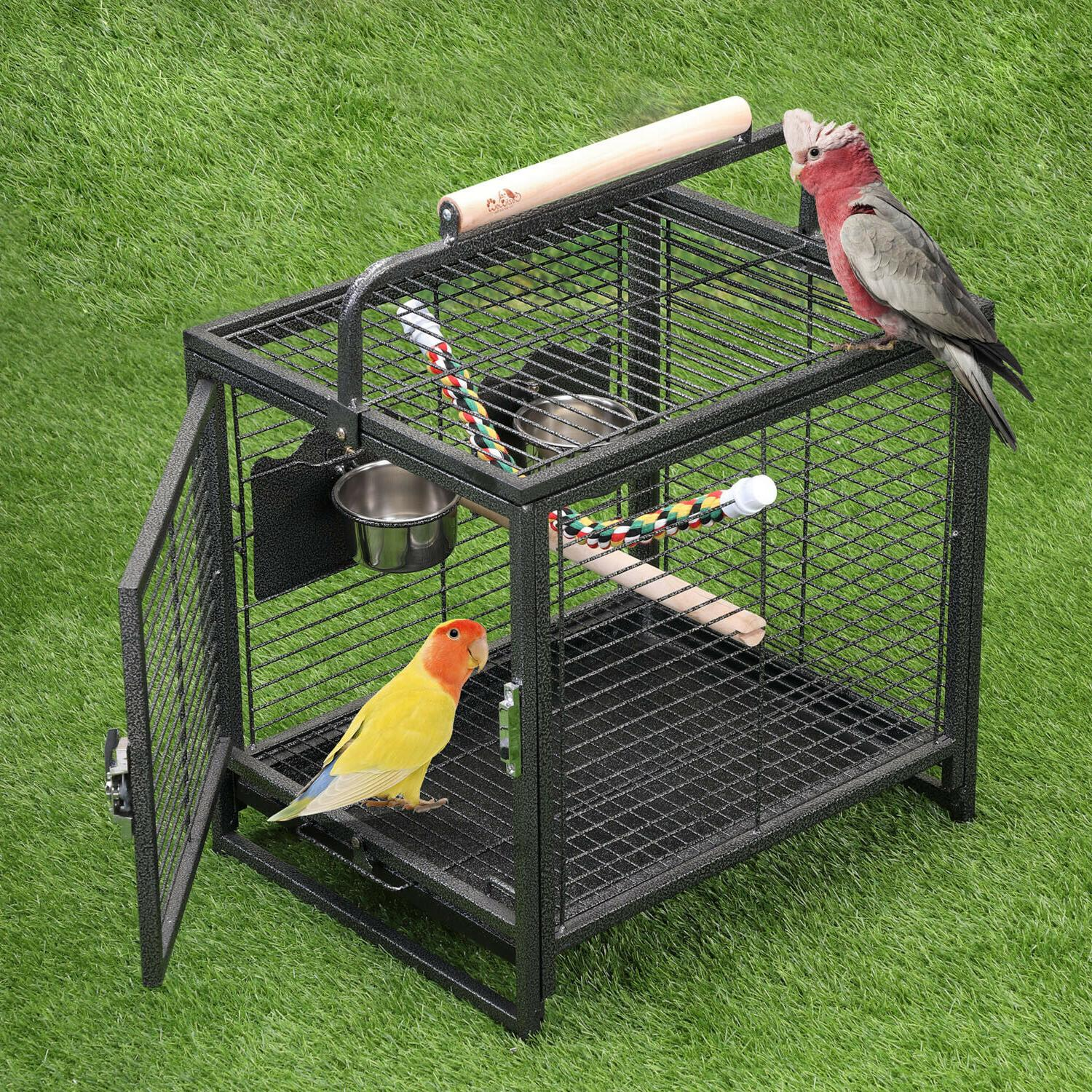 Portable Iron Bird Cages Travel Carrier for Parrots Conures