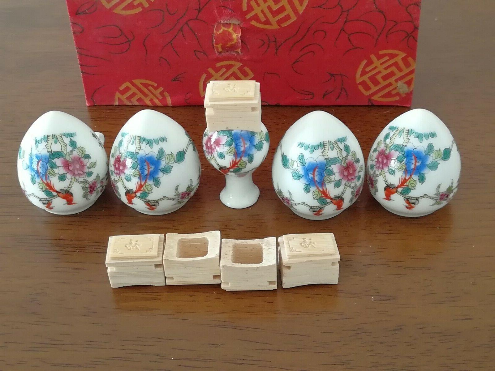 1set 5pcs Bird Flower and ceramics Cup 陶瓷鸟食杯