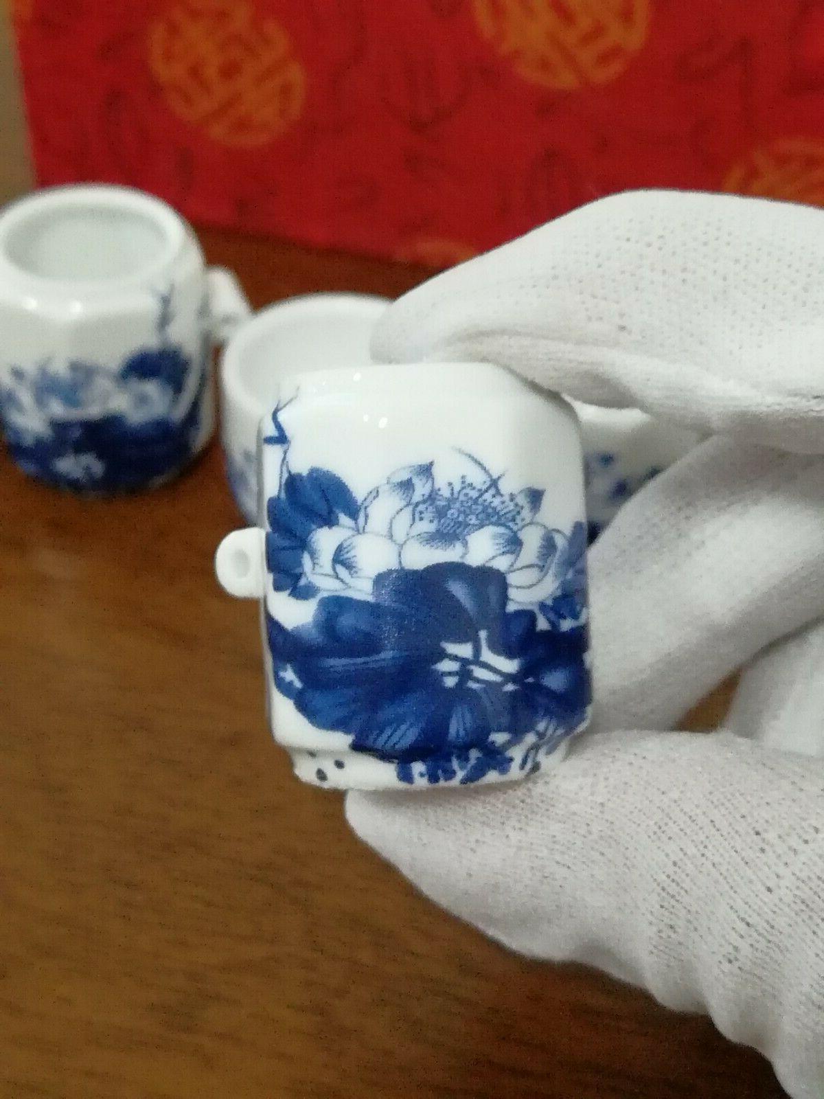 1set Blue FLOWER 陶瓷鸟食杯