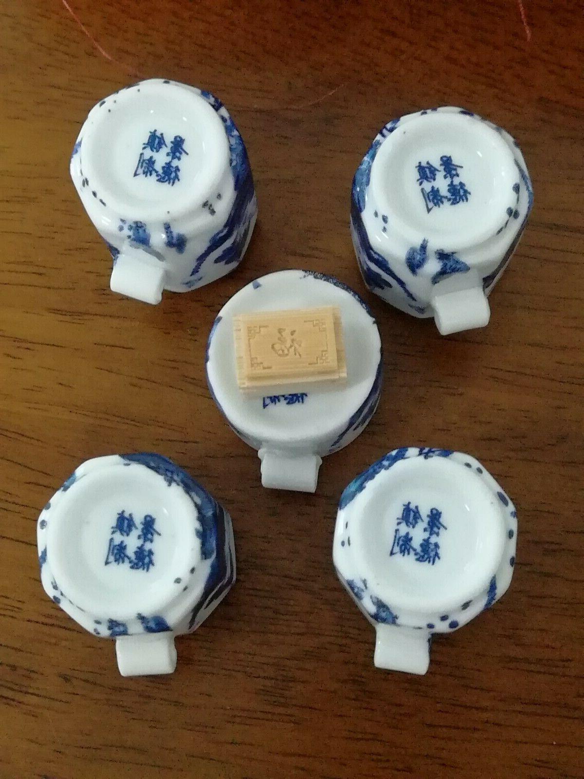 1set 5pcs Bamboo Blue Cage Set FLOWER Cup