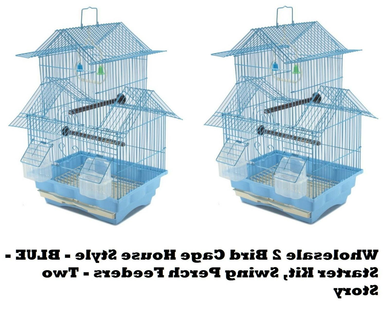 2 bird cage house style blue starter