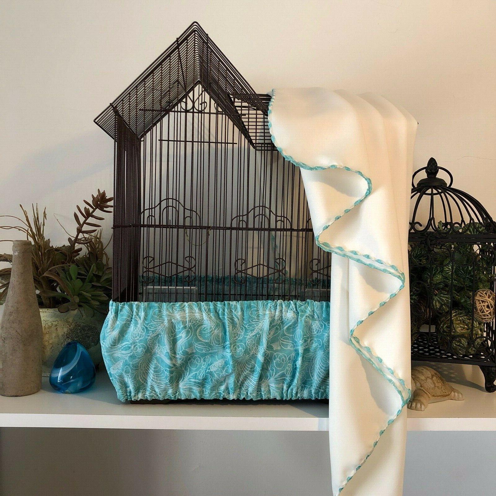2 Pc SET Handmade Aqua Bird Cage Skirt & Cream Cover Size XS