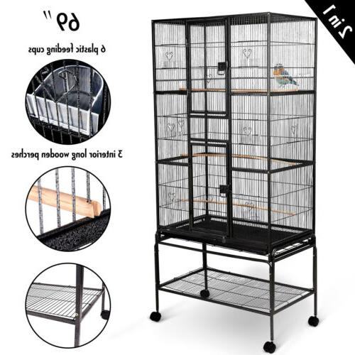 "2IN1 69"" Large Bird Cage W/Perches+Cups Parrot Pet Supplies"
