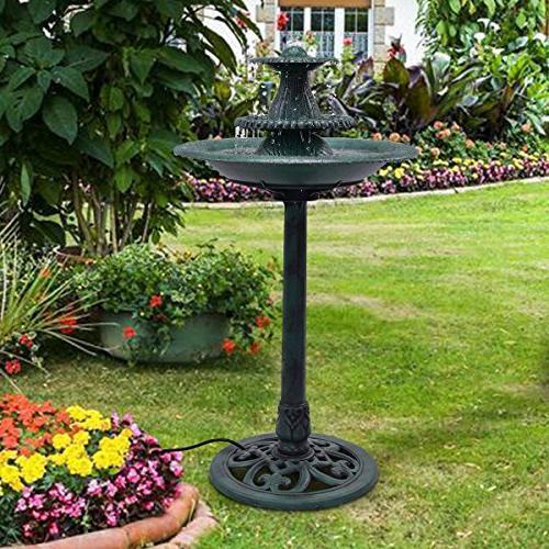 Giantex Fountain Garden Outdoor Decor Pedestal W/Pump