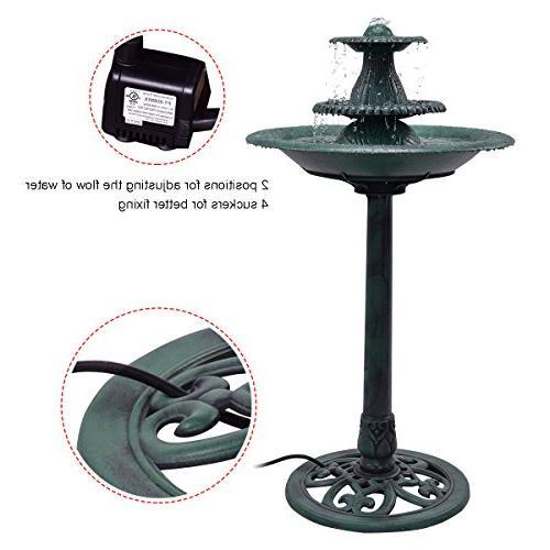 Giantex 3 Tier Fountain Garden Decor Bird W/Pump