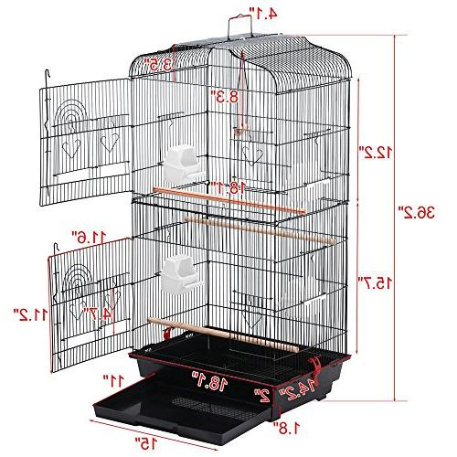 Yaheetech Medium Size Quaker Bird Cockatiel Ring Neck Sun Parakeet Green Conures Budgies Finch Bird Cage, Black