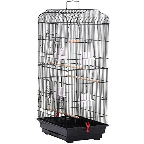 Yaheetech 36'' Medium Size Quaker Parrot Bird Cage Cockatiel Indian Ring Neck Sun Conures Lovebirds Canary Finch Parrotlet Portable Bird Cage, Black