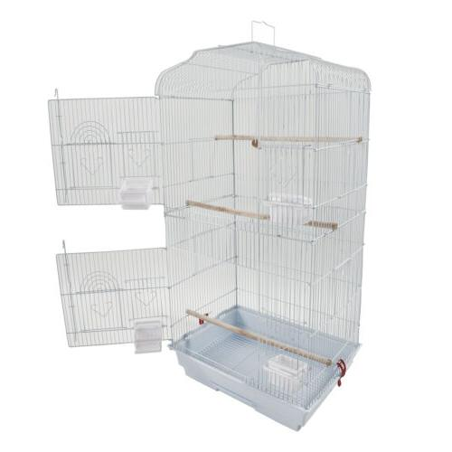 37'' Steel Bird Parrot Cage Canary Parakeet Cockatiel W Wood