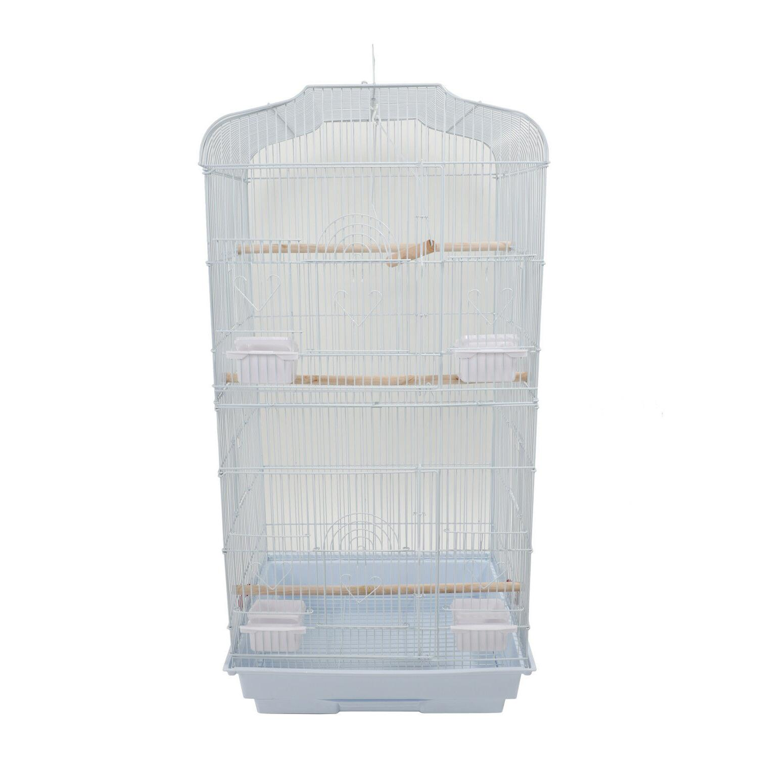 """37"""" White Canary Parakeet Finch Bird Cage with"""