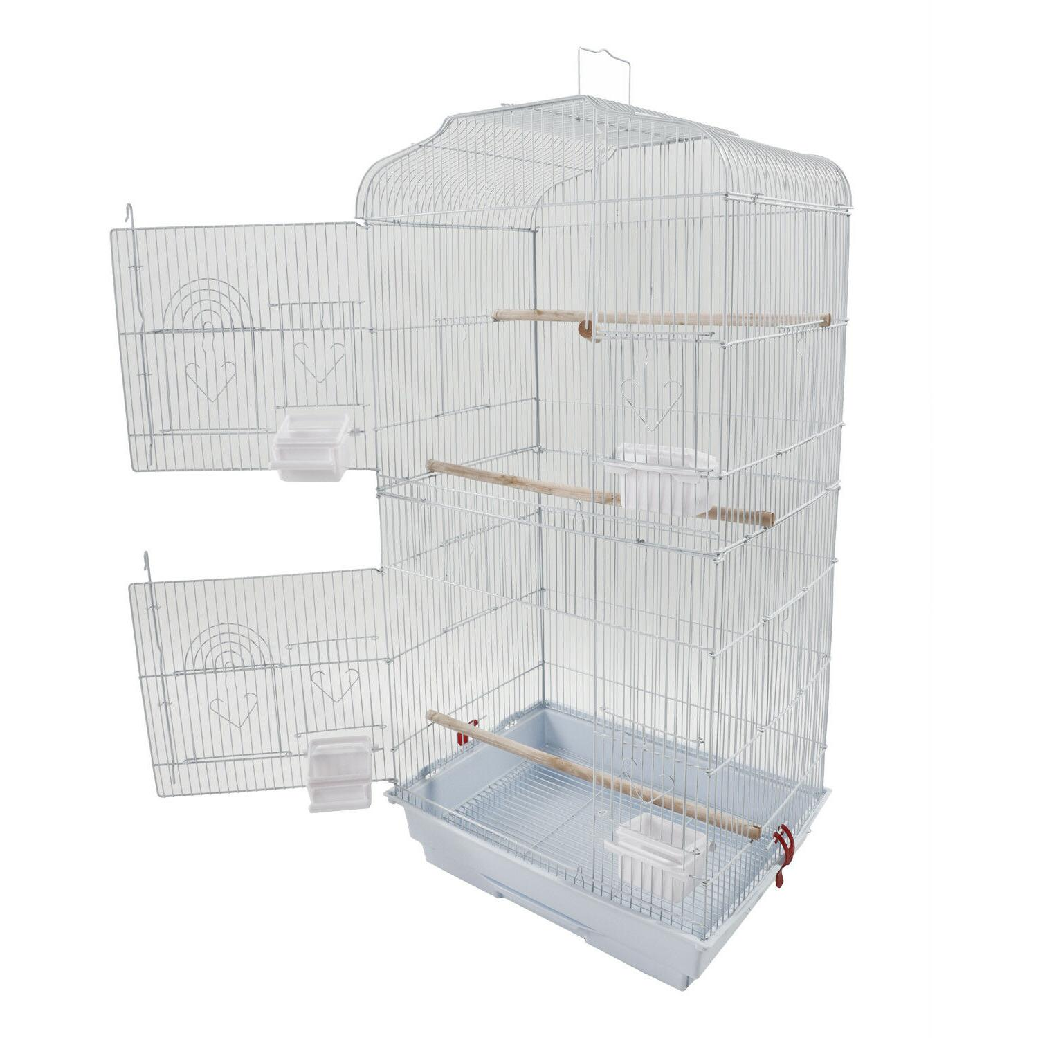 "37"" Bird Cage with Perches White"