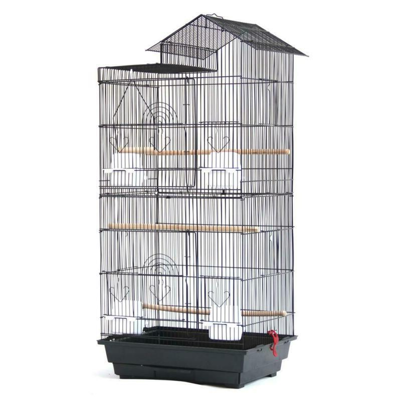 "39"" Bird Parrot Cages Canary Cockatiel Cage Cups Black"