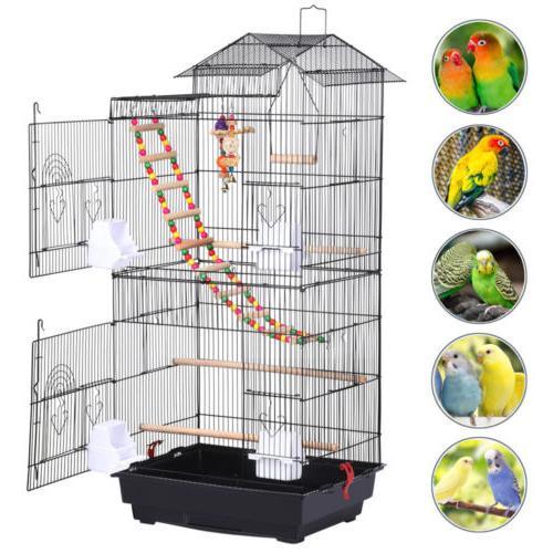 39''H Roof Top Bird Cockatiel Conure Bird Cage w/Toys